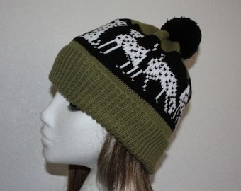 teenager to adult size Black Schnauzer dogs Beanie Hat in a choice of colours with or without pompom