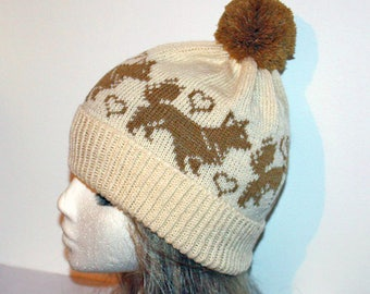 Cream beanie hat with Long Haired Chihuahua Dogs - with or without pompom  option a7579b1f9fc