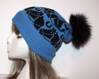 514e413f779 Blue with Black Horses Slouchy Beanie Hat and Faux Fur pompom - Teen to  Adult unisex size - with or without pompom