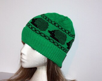 6625fa933e8 Black Hedgehog on Emerald Green Beanie Hat - with or without pompom - Teen  to Adult unisex size