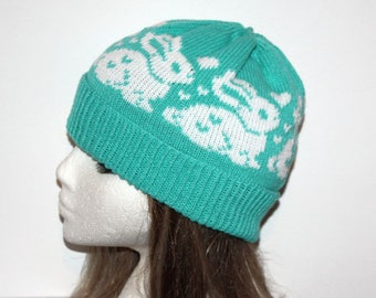 8b7e7df0f64 Mint Green Beanie Hat with White Bunny Rabbits and Hearts - with or without  Pompom option - teenager to adult sizes