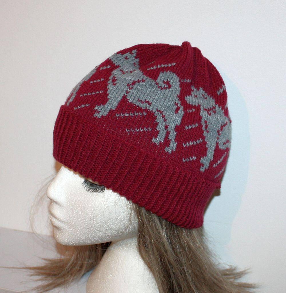 158547de650 Burgundy Beanie Hat with Grey Alaskan Malamute Siberian Husky dogs ...