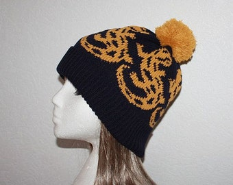 Black Knitted Beanie Hat with Lizards - With or without pompom option - teen upto adults size