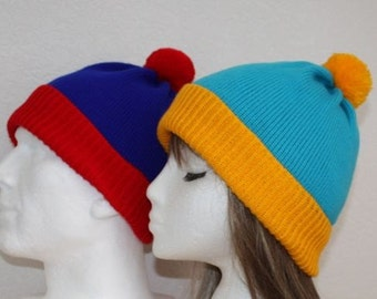 Red Blue Stan or Blue Yellow Cartman, South Park Cosplay pompom beanie hat, Teenager upto Adult size