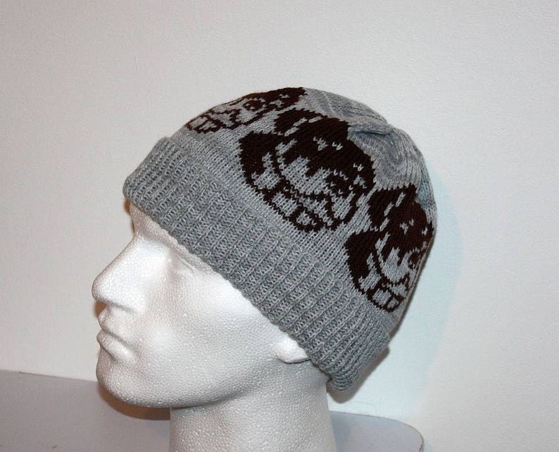 with or without pompom top Grey beanie hat with Brown Staffordshire Bull Terrier dog