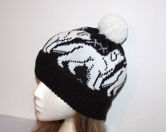 White Great Pyrenees Dogs on a Black Knit Beanie Hat - with or without pompom option - teenager to adult size