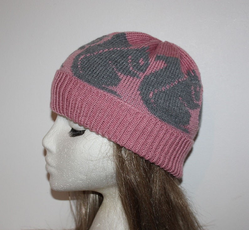 Grey Squirrels on a Dusty Pink Beanie Hat teenager to adult size ready to ship with or without Pompom option