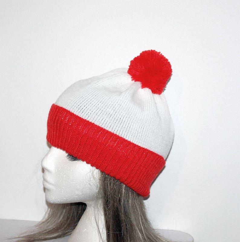 09deeda62f1 Red and White Wheres Wally Waldo Inspired pompom beanie hat