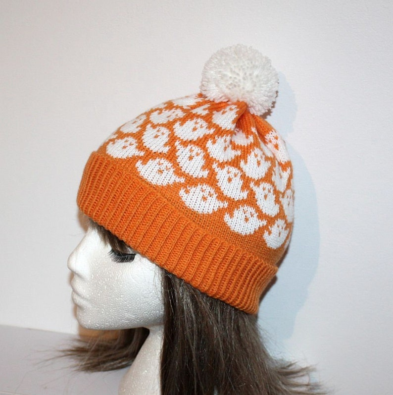 Halloween Orange White Ghosts Beanie Hat  with or without image 0