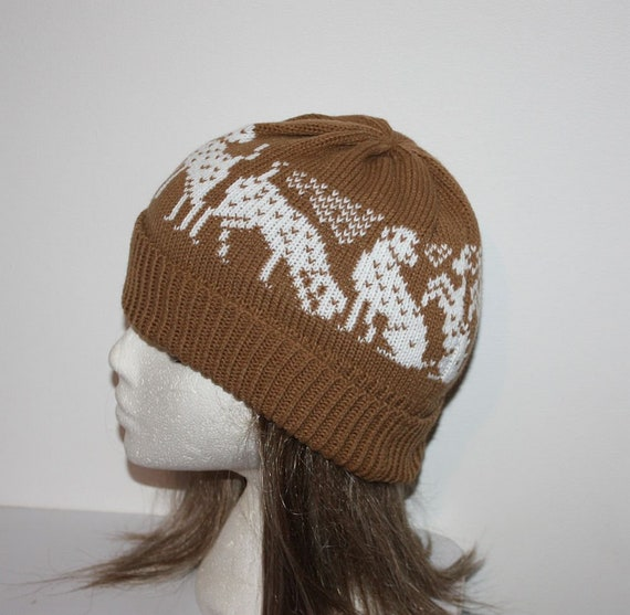 160e131ef Dalmatian Dogs on Chocolate Liver Brown Knit Beanie Hat - with or without  Pompom option - teenager upto adult size - Ready to Ship