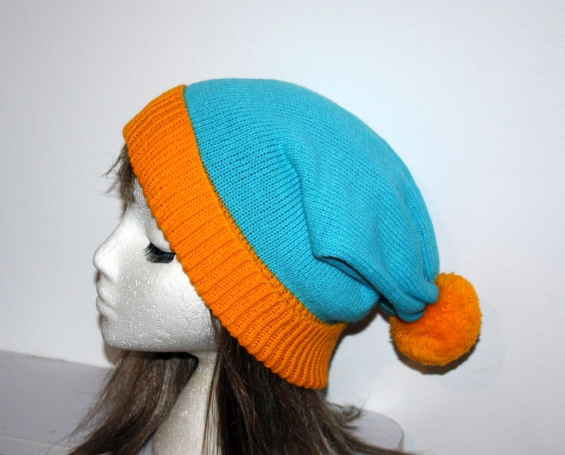 South Park Cosplay pompom beanie hat Teenager upto Adult size Slouchy Red Blue Stan or Blue Yellow Cartman