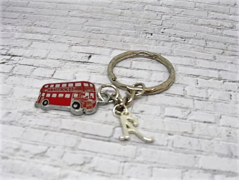 Personalised,Initialised Red Bus Keyring,double decker,bus driver gift,  London,boy london,liberty bow, london blue topaz,