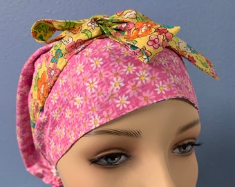 Tiny Flowers - Custom Made Bonnet Cap Hat 100% Cotton/Poly Cotton Reversible Elasticized With Ties For Healthcare Doctors Nurses EMS