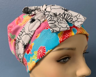 Koi - Custom Made Bonnet Cap Hat 100% Cotton/Poly Cotton Reversible Elasticized With Ties For Healthcare Frontliners Doctors Nurses EMS