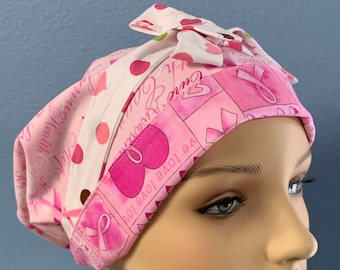 Pink Ribbons - Custom Made Bonnet Cap Hat 100% Cotton/Poly Cotton Reversible Elasticized With Ties For Healthcare Doctors Nurses EMS