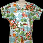 Surfing Santa - Custom Made Scrub Tops Nursing Uniforms