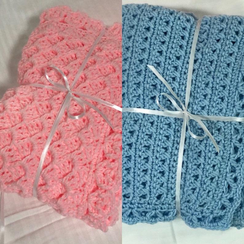 Handmade Crochet Baby Blanket Baby Newborn Swaddle Shower Gift image 0
