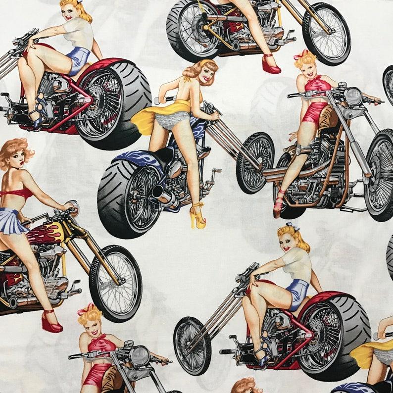 Girl on Bikes  Custom Made Scrub Tops Nursing Uniforms image 0