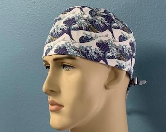 Hokusai Waves - Scrub Cap Men Women Custom Made Hat Healthcare Headgear for Frontliners Doctors Nurses EMS