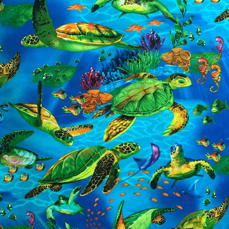 Turtles Everywhere  Custom Made Scrub Tops Nursing Uniforms image 0