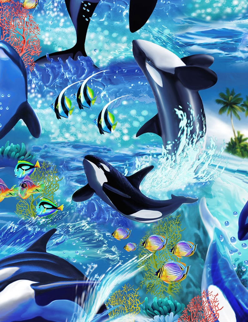 Killer Whales  Custom Made Scrub Tops Nursing Uniforms image 0