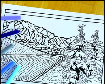 Coloring Page, Winter Mountains, Printable