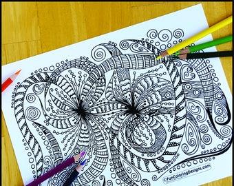 Coloring Page, Joyful Zentangle, Printable
