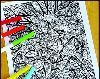 Coloring Page, Fall Foliage Abstract, Printable