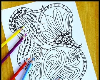 Coloring Page, Backyard Zentangle, Printable