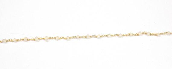 5 pieds pieds 5 blanc naturel de Rainbow Moonstone fil enroulé chaîne chapelet perles «3-4 mm perles «chapelet» bijoux chaîne (JMIC71067C) 43097b