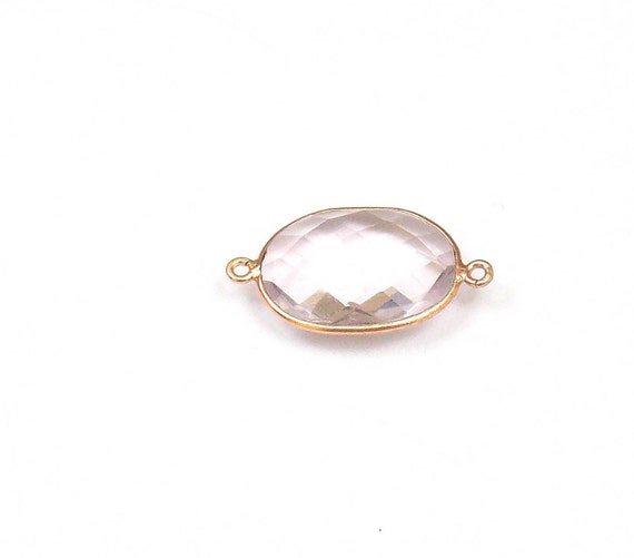5 pièces de Quartz Rose or Double attache lunette plaquée or Rose Rose connecteurs, 16 X 20 mm ovale «bijoux lunette «Station lunette» connecteur (JMIC91170C) d66a12
