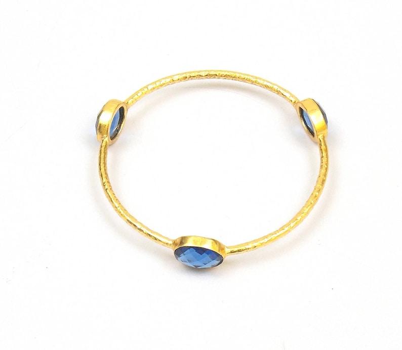 10/% OFF Blue Quartz Gold Plated Wedding Bangles JMI25059 10 x 12 mm Oval  Fashion Bangles  Gift For Girl Bangles  Ladies Bangles
