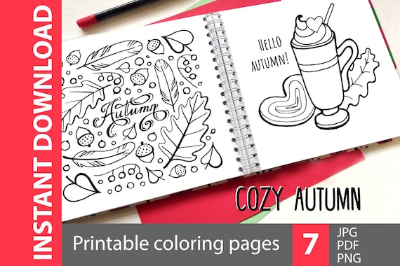 Cozy autumn  coloring book printable page pdf. Cute fall png