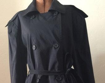 Vintage Women's Dumas Trench Raincoat Long Black Coat 1980's Double Breasted Shoulder Pads 8 Medium