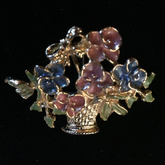 Vintage Enamel Flower Basket Pin Brooch Gold Tone… - image 7