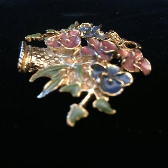 Vintage Enamel Flower Basket Pin Brooch Gold Tone… - image 5