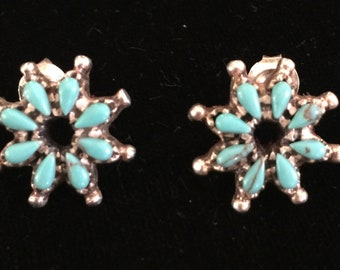Turquoise Blue Flower Post Earrings Marked Sterling Vintage