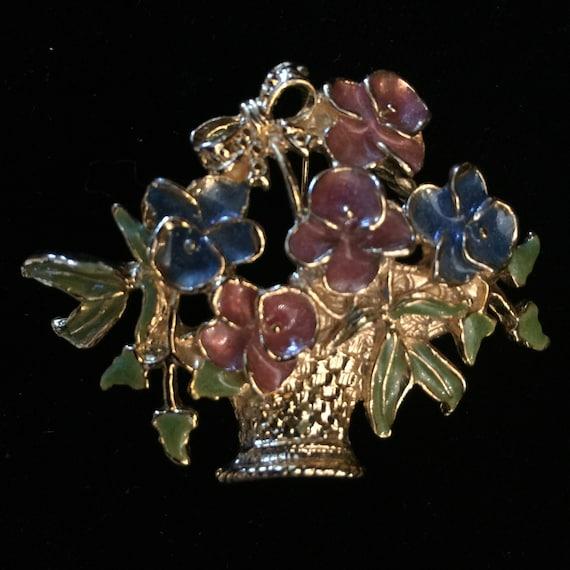 Vintage Enamel Flower Basket Pin Brooch Gold Tone… - image 9