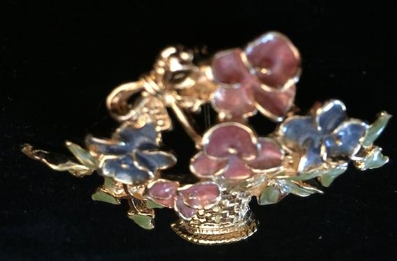 Vintage Enamel Flower Basket Pin Brooch Gold Tone… - image 6