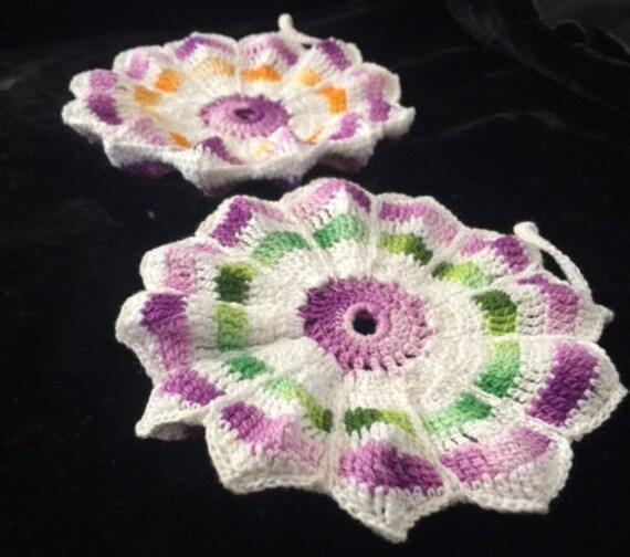 Vintage Crochet PATTERN Pansy Doily Hot Pad Pot Holder