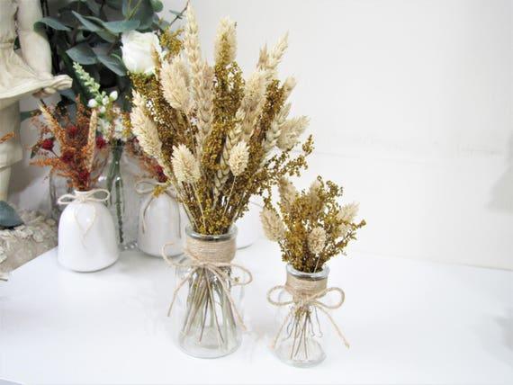 Wedding Centerpiece Wedding Decor Christmas Decor A Bunch of Dried Flowers in Glass Jar Christmas Gift Mantel Decor Rustic Home Decor