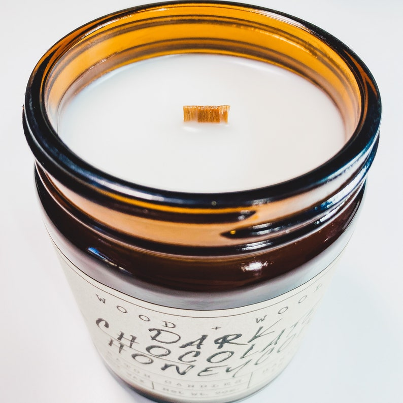 Coconut Soy Wax Candle With Wood Wick Dark Chocolate