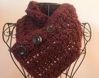 Brylee Cowl, button cowl, button scarf, infinity scarf,  crochet scarf, wool blend, chestnut heather