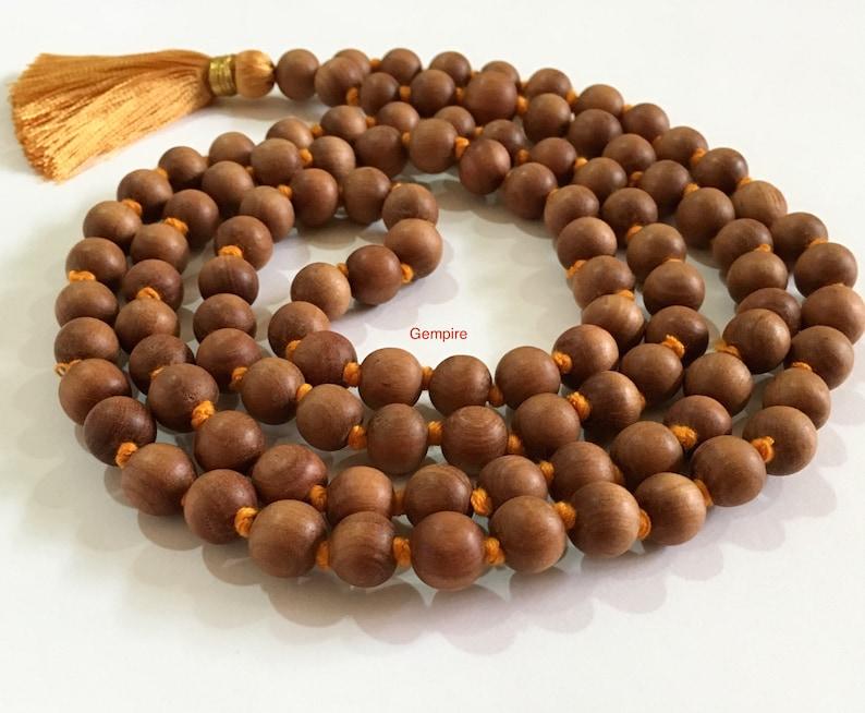 Sandalwood Mala Necklace 10 mm knotted 108 Sandalwood rosary Hindu meditation necklace buddhist Tibetan 108 Prayer Mala Wood Mens Necklace