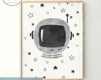 PRINTABLE Black & White ASTRONAUT, printables, baby shower. Nursery decor, kids room, boy newborn, space, stars, digital, instant download