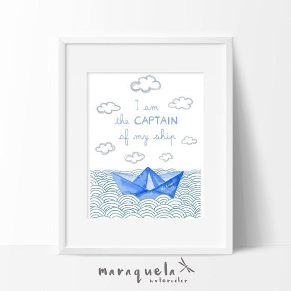 PRINTABLE Custom PAPER BOAT waves with quote and name for baby.Nursery decor,newborn gift,baby shower,boy room,illustration child,customized