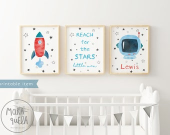 PRINTABLE Customized SET ASTRONAUT rocket and sky, nursery decor, message.Personalized baby, space, decor, child room wall, newborn, boy