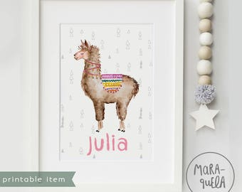 PRINTABLE Customized LLAMA. Nursery decor, llamas, print, Personalized, baby girls, baby boys, download, tepee, room wall, alpaca, digital