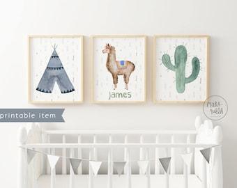 PRINTABLE Customized SET nursery decor: tepee, llama and cactus. Teepee, names, kids, baby, llamas, instant download, printable alpaca