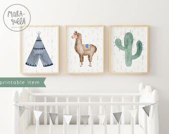 PRINTABLE LLAMA SET nursery decor: blue tepee, llama and cactus. Teepee, room printables, lama illustration instant download, alpaca, animal